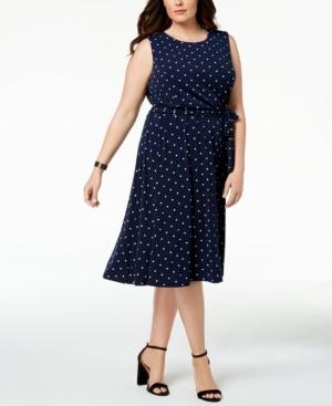 Charter Club Plus Size Polka-Dot A-Line Dress, Created for Macy's