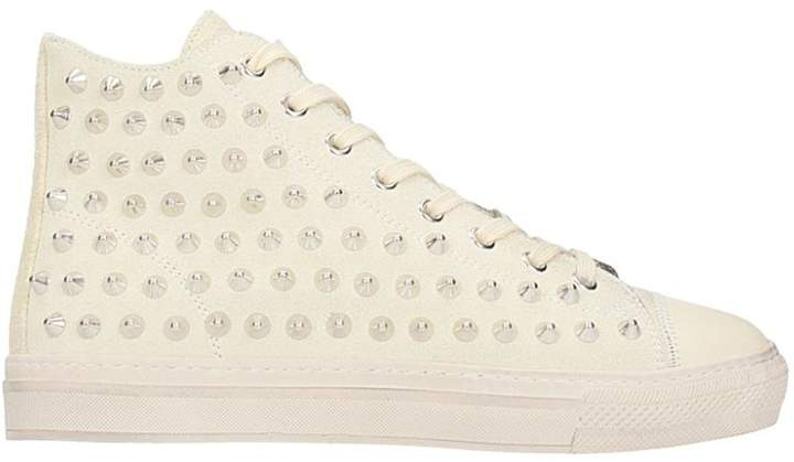 Gienchi Jean Michel Hi White Suede Sneakers