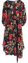 Sonia Rykiel Buckled Ruffled Floral-Print Crepe Midi Dress