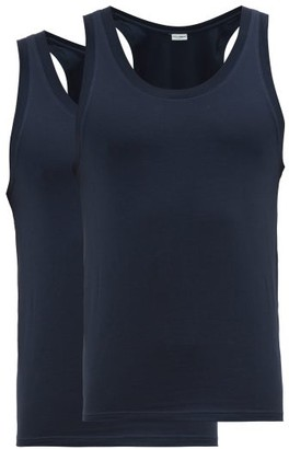 Dolce & Gabbana Day-by-day Pack Of Two Stretch-cotton Vests - Navy
