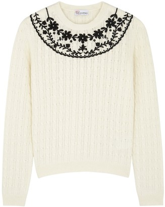 RED Valentino Ivory embroidered cable-knit jumper