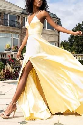 Faviana Long v-neck charmeuse dress