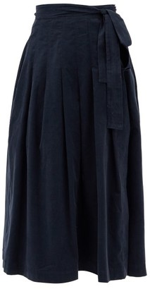Three Graces London Jessamina Pleated Fine-corduroy Skirt - Navy