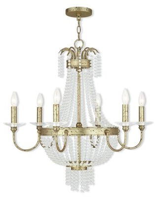 House Of Hampton Rachedi 6 - Light Candle Style Empire Chandelier with Crystal Accents House of Hampton Finish: Winter Gold