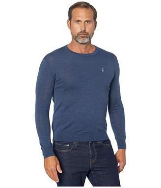 Polo Ralph Lauren Washable Merino Wool Sweater (Federal Blue Heather) Men's Sweater