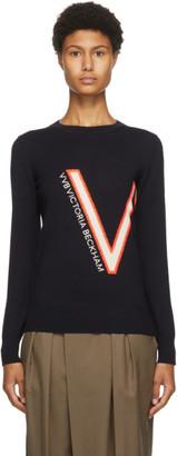 Victoria Victoria Beckham Navy Wool Logo Sweater