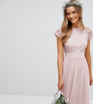 TFNC Maxi Bridesmaid Dress with Scalloped Lace and Open Back-Brown