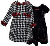 Girls 4-6x Blueberi Boulevard Houndstooth Coat & Velvet Rose Dress Set