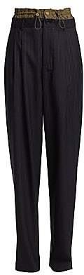 Monse Women's Pinstripe Drawstring Stretch Wool Trousers