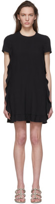 RED Valentino Black Pleated Fills Dress