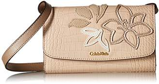 Calvin Klein womens Logan Exotic Saffiano Applique Leather Crossbody