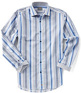 Thomas Dean Big & Tall Multi-Stripe Long-Sleeve Woven Shirt