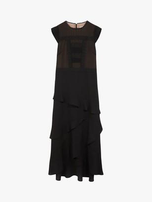 Oasis Lace Frill Midi Dress, Black