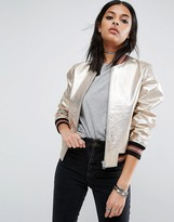 Asos Leather Bomber Jacket in Metallic