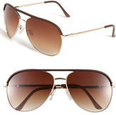 Vince Camuto 60mm Metal & Leather Aviator Sunglasses Gold/ Brown One Size