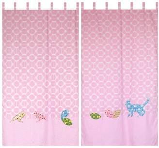 Taftan Inke and Taftan Curtain 145 x 280cm with Loops (Pink Birds)