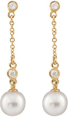 Masako Splendid Pearls 14K Diamond & 7-7.5Mm Akoya Pearl Dangling Earrings