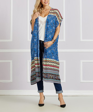 Suzanne Betro Women's Dusters 105 - Blue Floral Kimono - Women