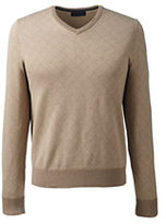 Classic Men's Tall Supima Cotton Jacquard V-neck Sweater-Dark Camel Heather Argyle