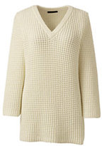 Lands' End Women's Lofty 3/4 Sleeve V-neck Sweater-Vicuna Heather/Black Stripe
