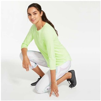 Joe Fresh Women's Mesh Detail Active Tee, Light Neon Green (Size S)