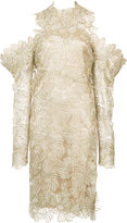 Christian Siriano exaggerated sleeve cold shoulder dress