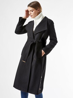 Dorothy Perkins GlossyFunnel Collar BeltedCoat -Black