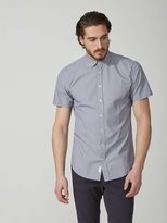 Frank + Oak Mini-Check Poplin-Cotton Shirt in Navy