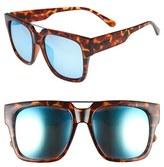 Quay Women's 'Mila' 56Mm Mirrored Sunglasses - Tortoise/ Blue Mirror