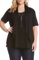 Karen Kane 'Sophie' Short Sleeve Open Front Jersey Cardigan (Plus Size)