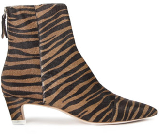 Black Suede Studio Sonia Zebra Ankle Boot