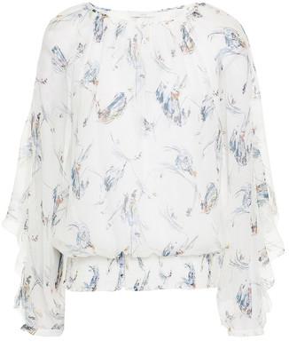 Joie Kriston Ruffled Printed Silk-crepon Blouse