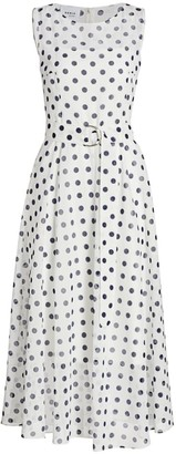 Akris Punto Polka Dot Cotton Midi Dress