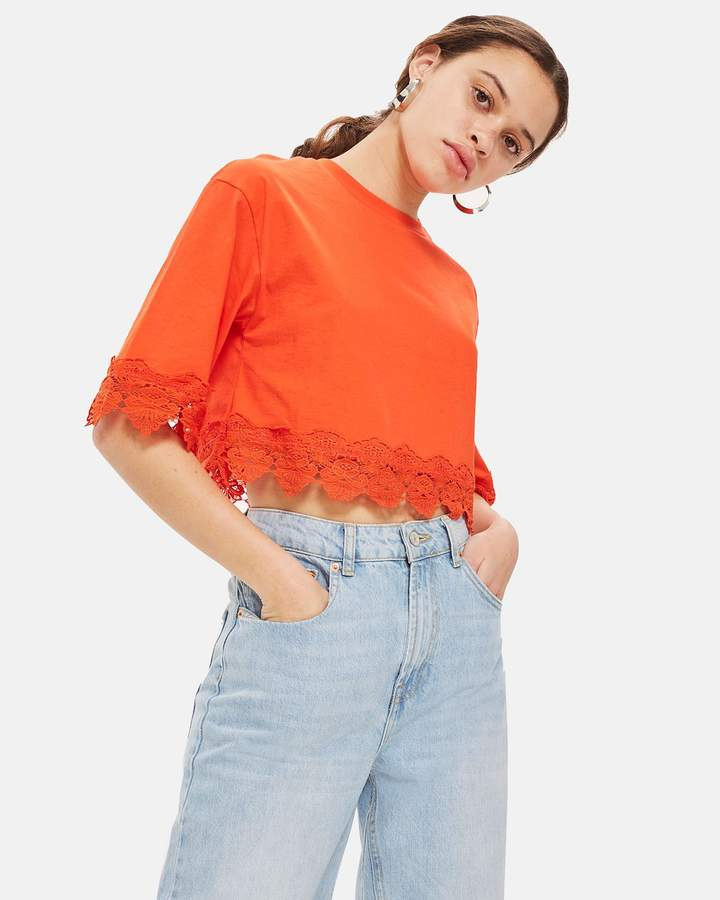 Topshop Square Sleeve Trim T-Shirt