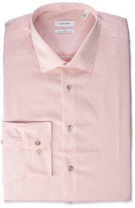 Calvin Klein Men's Tall Dress Shirts Non Iron Herringbone Solid