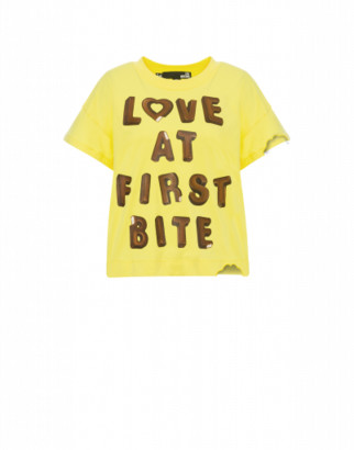 Love Moschino T-shirt Love At First Bite Woman Yellow Size 38 It - (4 Us)