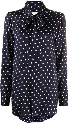 Plan C Polka-Dot Print Tie Neck Blouse