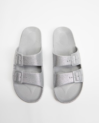 Freedom Moses Silver Sandals - Slides - Unisex - Size One Size, 32/33 at The Iconic