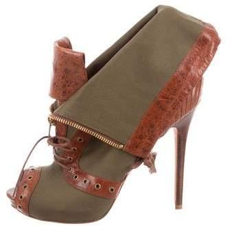 Alexander McQueen Peep-Toe Leather-Trimmed Booties