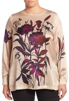 Marina Rinaldi, Plus Size Fluid Straight Floral Silk Top