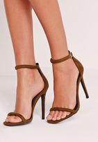 Missguided Rounded Strap Barely There Sandal Green