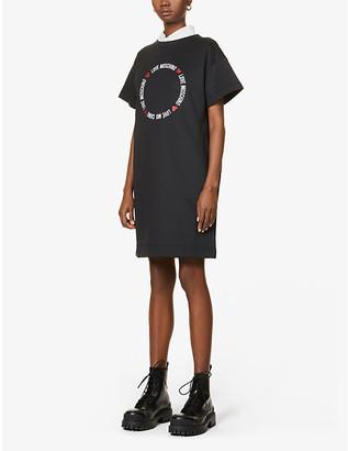 Love Moschino Circle Love logo-print stretch-jersey midi dress