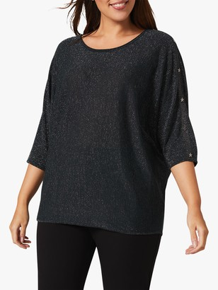 Studio 8 Abigale Star Studded Metallic Knit Top, Forest