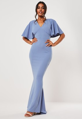Missguided Bridesmaid Blue Cape Sleeve V Neck Fishtail Maxi Dress