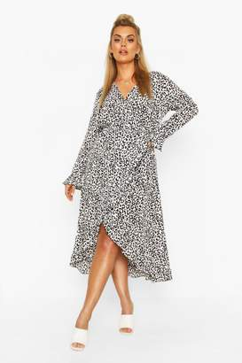 boohoo Plus Leopard Ruffle Wrap Midi Dress
