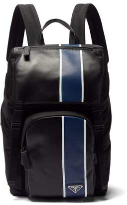 Prada Striped Technical And Leather Backpack - Mens - Black Blue