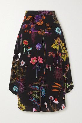 Stella McCartney Floral-print Silk Crepe De Chine Midi Skirt - Black