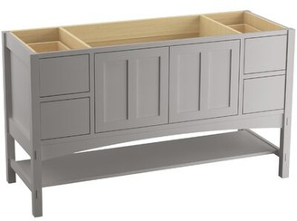 """Kohler Marabou 60"""" Vanity Base Only with 2 Doors and 4 Drawers, Split Top Drawers Finish: Mohair Grey"""