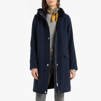 Anne Weyburn Zip-Up Mid-Length Hooded Coat with Pockets