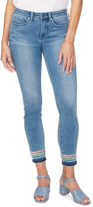 NYDJ Ami Embroidery Release Hem Ankle Skinny Jeans